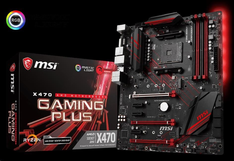 MSI MB Sc AM4 X470 GAMING PLUS, AMD X470, VGA, 4xDDR4
