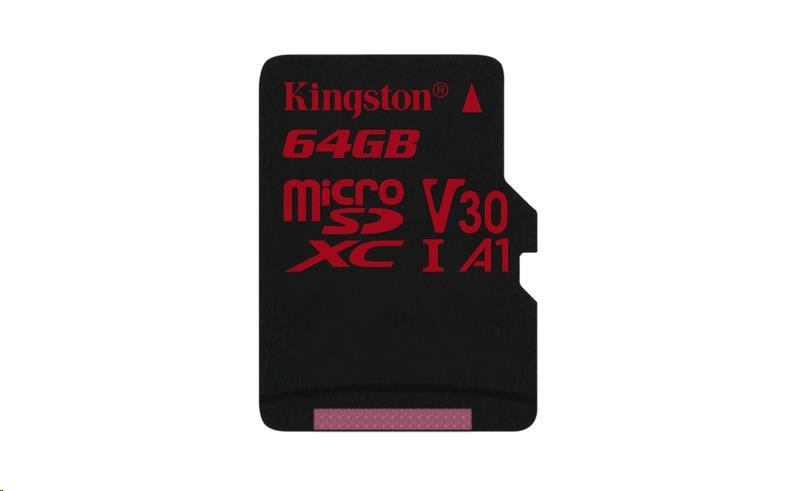 Kingston 64GB microSD XC Canvas React Card, 100R 80W UHS-I V30 A1