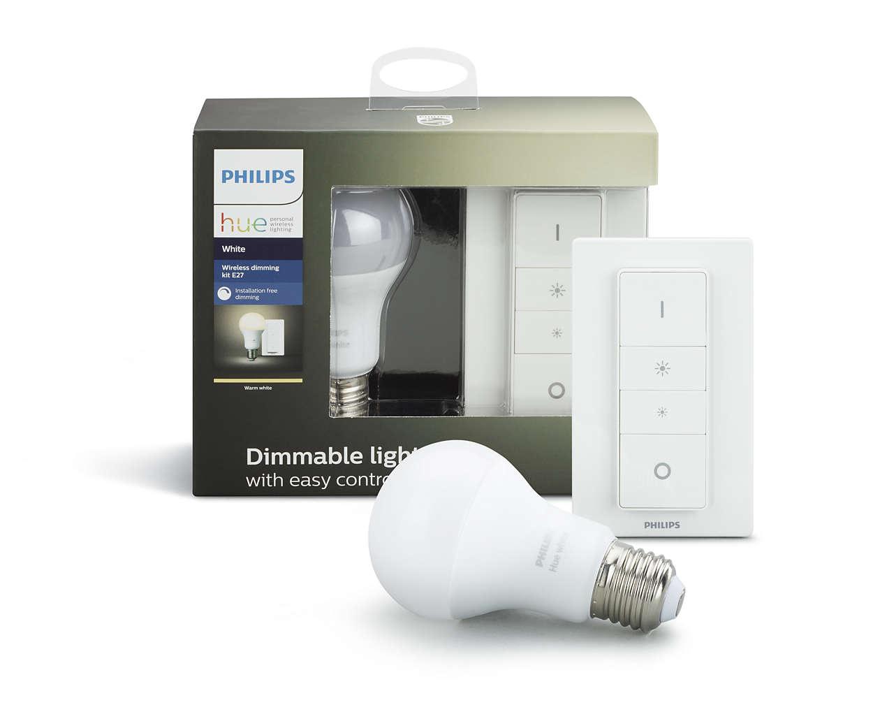 PHILIPS Hue Dimming KIT,White ( 1x žárovka 9,5W A60 2700K DIM E27 + 1x ovladač se stmíváním )