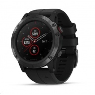 Garmin GPS sportovní hodinky fenix5x Plus Sapphire Black, černý řemínek