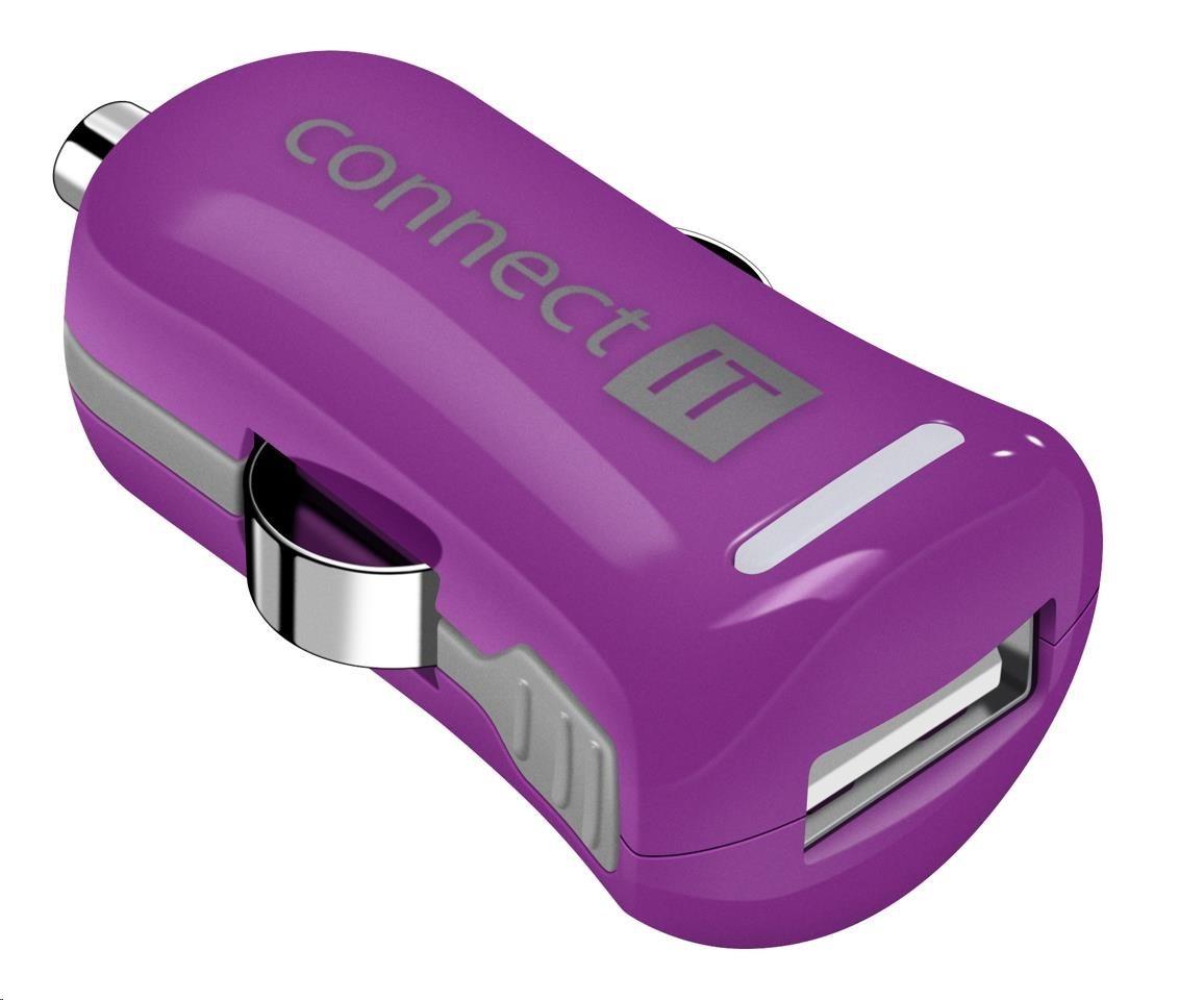 CONNECT IT InCarz COLORZ nabíječka do auta 1xUSB 2,1A, fialová (V2)