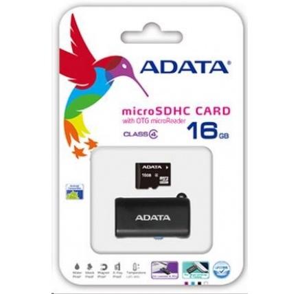 ADATA Micro SDHC karta 16GB Class 4 + OTG čtečka USB 2.0, microUSB