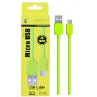PLUS datový a nabíjecí kabel AS115, konektor micro USB, zelená