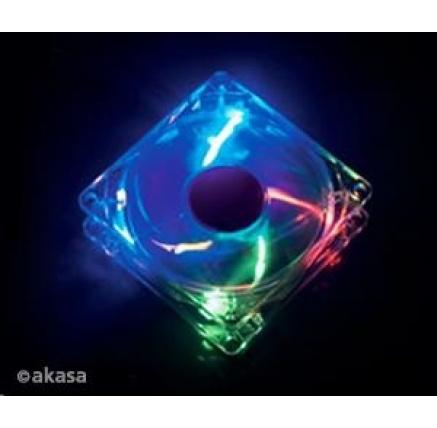 AKASA Ventilátor Rainbow, 120 x 25mm, průhledný se 4 led, kluzné ložisko, tichý