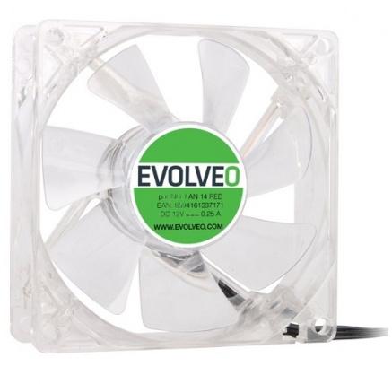 EVOLVEO 14L1RD ventilátor 140mm, 4 LED červený, 3pin