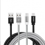 ADATA Sync & Charge kabel - USB A 2.0, micro USB, 200cm, stříbrný