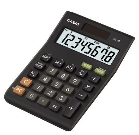 CASIO kalkulačka MS 8 B S, černá, stolní, osmimístná