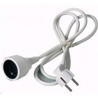 PREMIUMCORD Prodlužovací přívod 230V 3m, 1 zásuvka (M/F) bílá