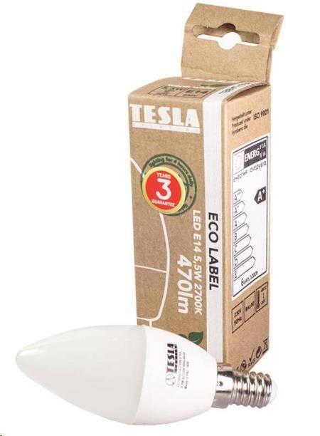 Tesla - LED žárovka CANDLE svíčka, E14, 5,5W, 230V, 470lm, 25 000h, 2700K teplá bílá, 180°