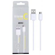 PLUS datový a nabíjecí kabel 8041, konektor USB-C, délka 1m, 2A, USB 2.0, bílá