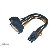 AKASA kabel 2xSATA na 6pin PCIE adaptér, 15cm