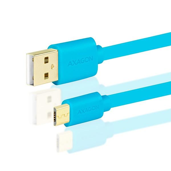 AXAGON - BUMM-AM05QL, HQ Kabel Micro USB <-> USB A, datový a nabíjecí 2A, modrý, 0.5 m