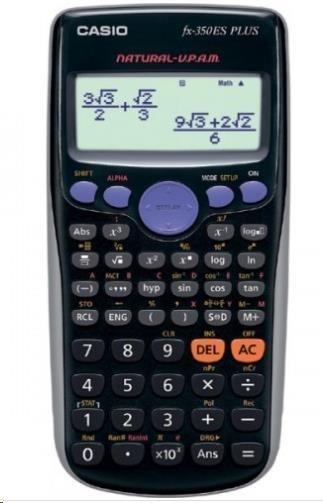 CASIO kalkulačka FX 350 ES PLUS, černá, školní, dvanáctimístná