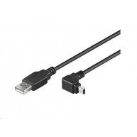 PREMIUMCORD Kabel USB 2.0 A-Mini B (5pin) propojovací, úhlový 1,8m