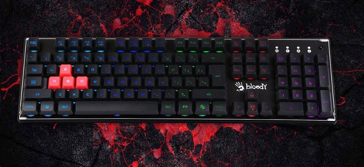 A4tech BLOODY B180R podsvícená herní klávesnice, USB, CZ