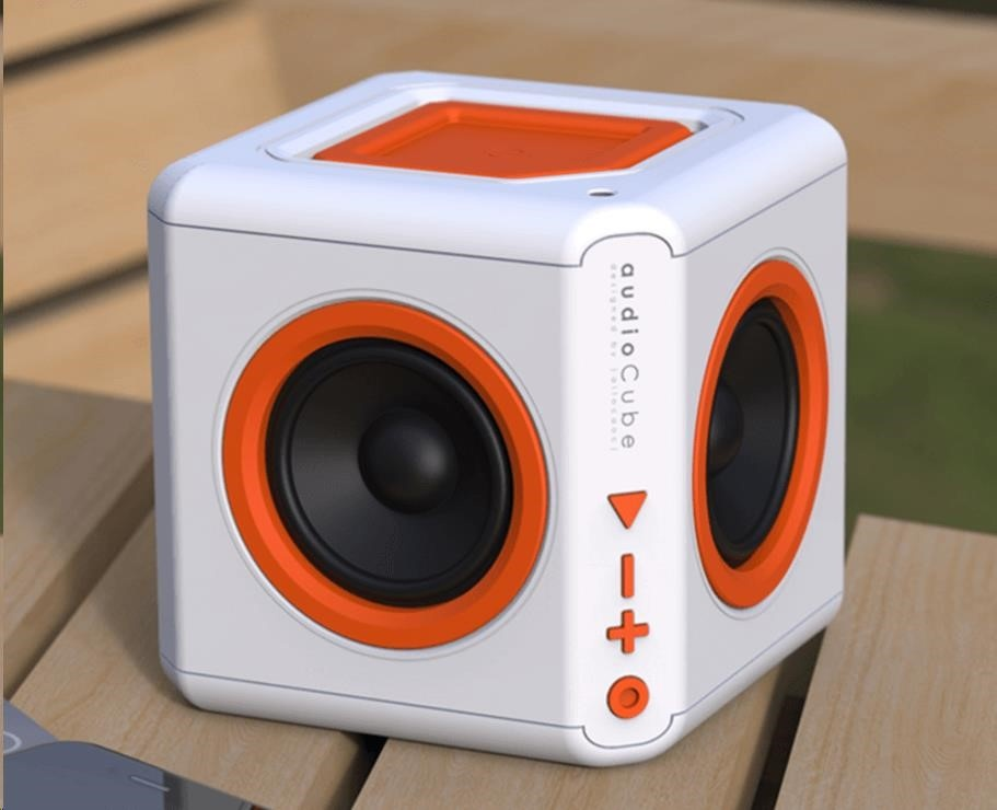 Allocacoc Audiocube Portable, white/orange
