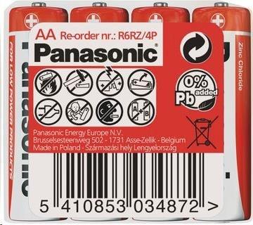 PANASONIC Zinkouhlíkové baterie - Red Zinc AA 1,5V - 4ks