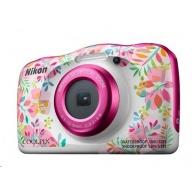 NIKON kompakt Coolpix W150, 13MPix, 3x zoom - květinový - Backpack kit
