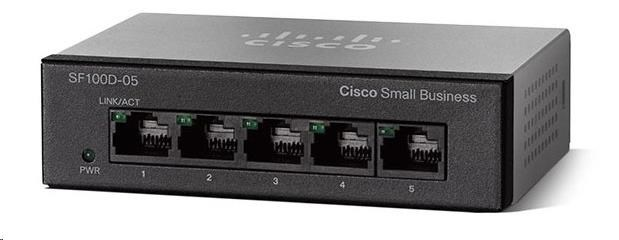 Cisco switch SF110D-05, 5-Port 10/100, desktop, kov