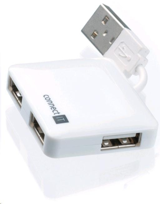 CONNECT IT USB 2.0 hub 4 porty, bílý