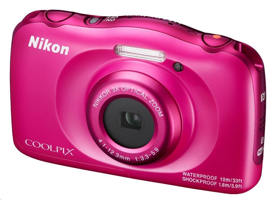 NIKON kompakt Coolpix W100, 13MPix, 3x zoom - růžový - Backpack kit