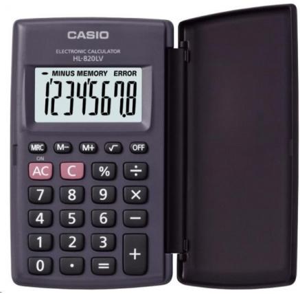 CASIO kalkulačka HL 820 LV BK, černá, kapesní, osmimístná
