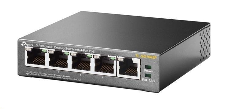 TP-Link TL-SG1005P - PoE Switch 5xTP 10/100/1000Mbps(4x PoE), kovový