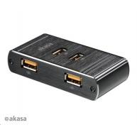 AKASA HUB USB , 4 nabíjecí porty USB, černý hliník