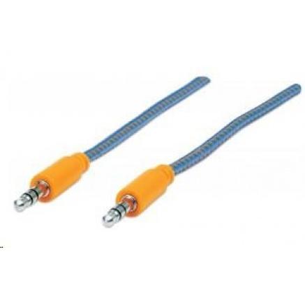 MANHATTAN Kabel Jack 3,5mm, propojovací 1m (M/M), opletený (modrá/oranžová)