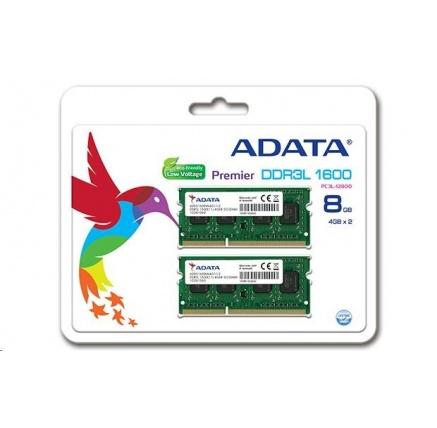 SODIMM DDR3L 8GB 1600MHz CL11 (KIT 2x4GB) ADATA Premier memory, 512x8, Dual kit