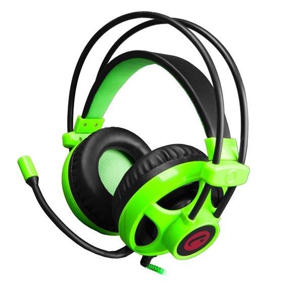 C-TECH herní sluchátka s mikrofonem Helios, černo-zelená