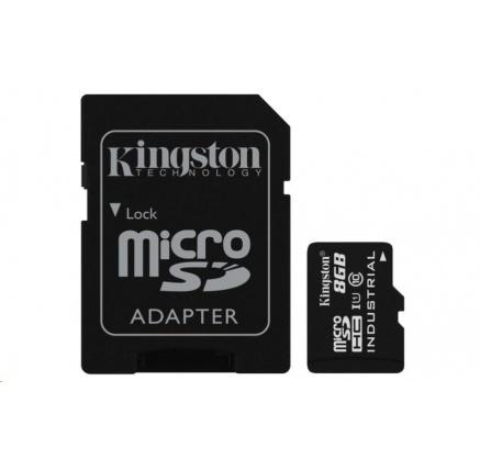 Kingston 8GB microSDHC UHS-I Class 10 Industrial Temp Card + SD Adapter