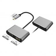 PLATINET adaptér USB-C na HDMI a VGA, 4K 30Hz